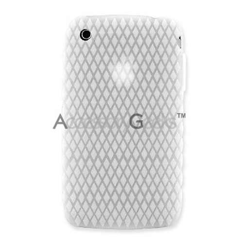 Apple iPhone 3G Silicone Case, Rubber Skin w/ Diamond Shape Back - Solid White