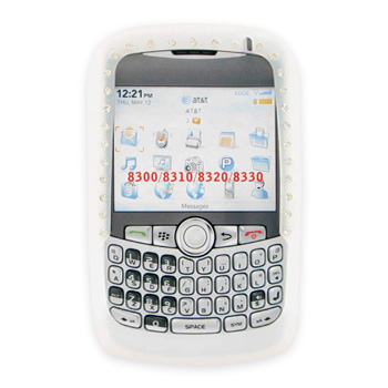 Blackberry Curve 8330, 8320, 8310, 8300 Silicone Case, Rubber Skin w/ Embedded Gems - Frost White