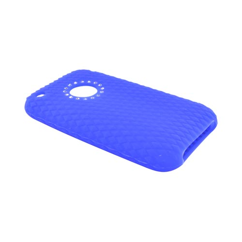 Apple iPhone 3G Silicone Case, Rubber Skin Diamond Texture Back w/ Embedded Gems - Blue