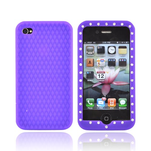Apple Verizon/ AT&T iPhone 4, iPhone 4S Silicone Case w/ Embedded Gems - Purple