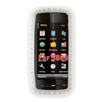 Nokia XpressMusic 5800 Silicone Case, Rubber Skin w/ Embedded Gems - Frost White