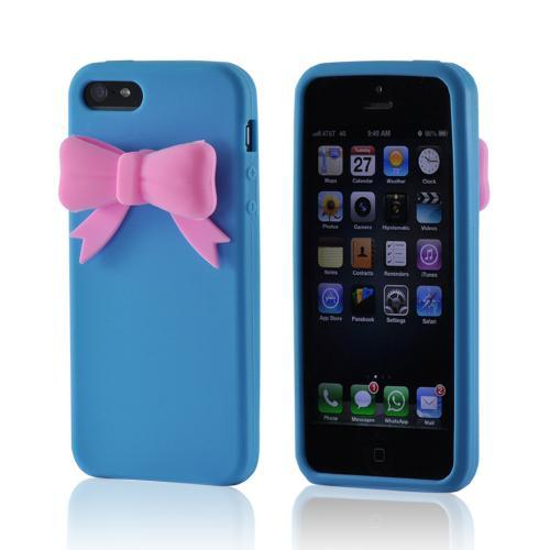 Apple iPhone SE / 5 / 5S  Case,  [Baby Blue w/ Pink Bow]  Slim & Flexible Anti-shock Crystal Silicone Protective TPU Gel Skin Case Cover