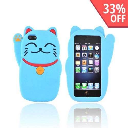 Premium Apple iPhone 5/5S Silicone Case - Blue Lucky Cat