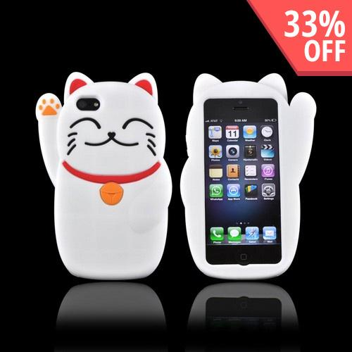 Premium Apple iPhone 5/5S Silicone Case - White Lucky Cat