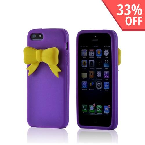 Apple iPhone SE / 5 / 5S  Case,  [Purple w/ Yellow Bow]  Slim & Flexible Anti-shock Crystal Silicone Protective TPU Gel Skin Case Cover