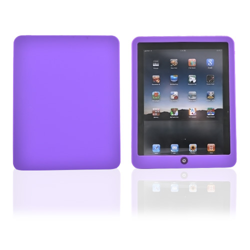 Premium Apple iPad (1st Gen) 1st Silicone Case, Rubber Skin - Purple w/ Dark Purple Button