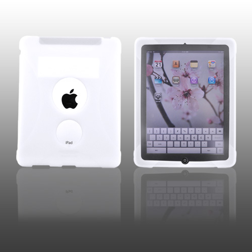 Premium Apple iPad (1st Gen) 1st Silicone Case, Rubber Skin - Frost White X Design