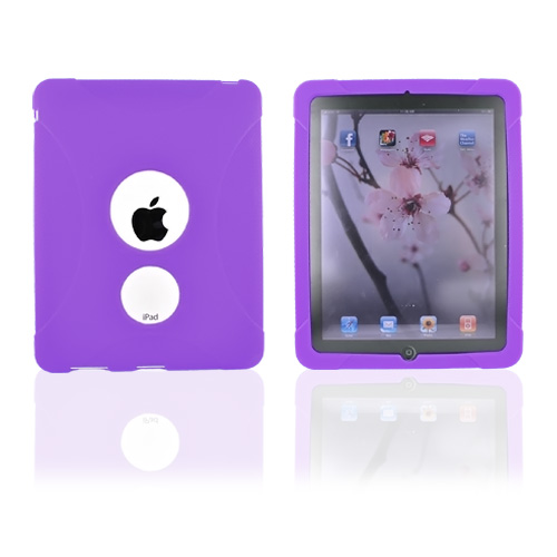 Premium Apple iPad (1st Gen) 1st Silicone Case, Rubber Skin - Purple X Design