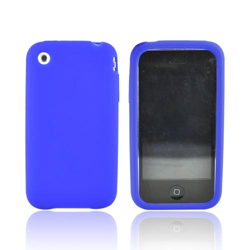 Apple iPhone 3G Rubber silicone case, rubber skin - Navy Blue