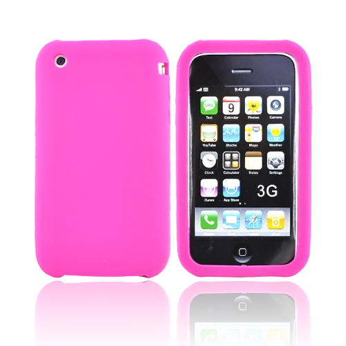 Apple iPhone 3G Rubber silicone case, rubber skin - Hot Pink