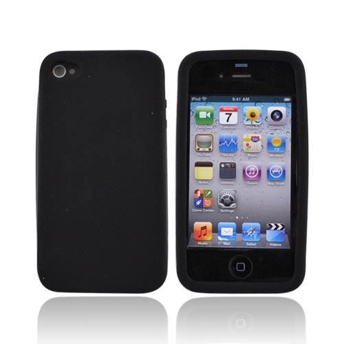 Premium Apple iPhone 4 Silicone Case, Rubber Skin - Black