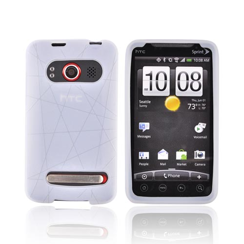 HTC EVO 4G Silicone Case w/ Screen Protector - Textured Lines Frost White