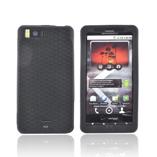 Motorola Droid X MB810 Textured Silicone Case -Woven Black