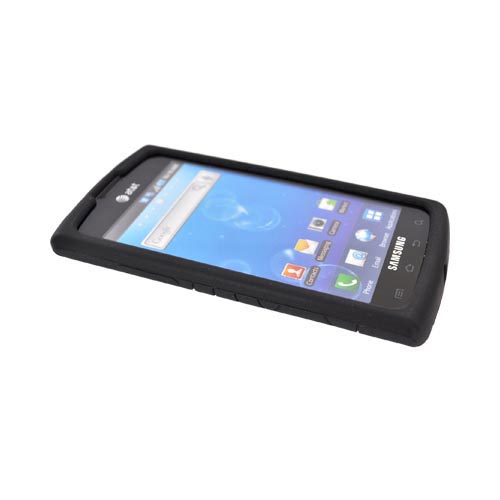 Samsung Captivate i897 Silicone Case w/ Screen Protector - Textured Lines Black