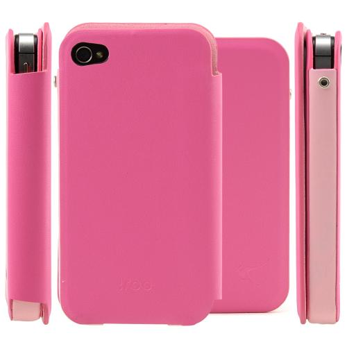 Pink/ Baby Pink iRoo Faux Leather Slide-In Case w/ Diary Cover for Apple iPhone 4/4S
