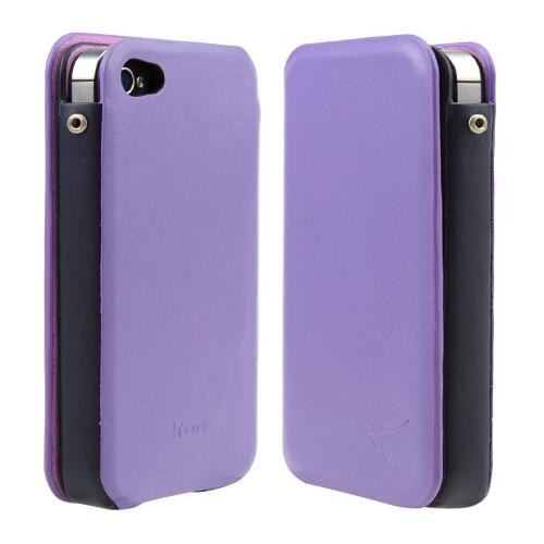 Dark Lavender/ Black iRoo Faux Leather Slide-In Case w/ Diary Cover for Apple iPhone 4/4S