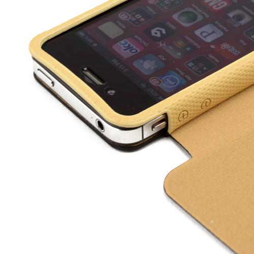 Black/ Tan Iroo Textured Faux Leather Slide-in Case W/ Diary Cover For Apple Iphone 4/4s