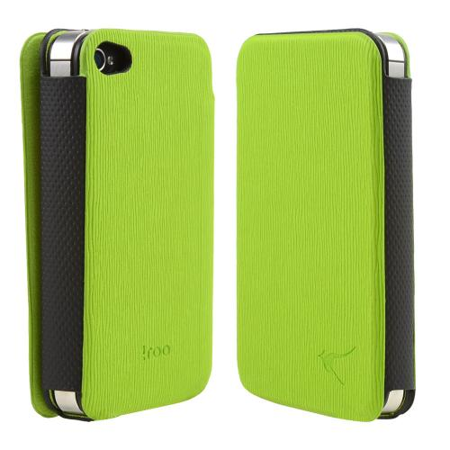 Lime Green/ Black Iroo Textured Faux Leather Slide-in Case W/ Diary Cover For Apple Iphone 4/4s