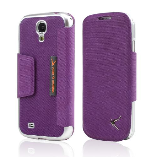 Purple/ Silver iRoo Blend Leather Diary Flip Cover Hard Case w/ ID Slots & Magnetic Closure For Samsung Galaxy S4