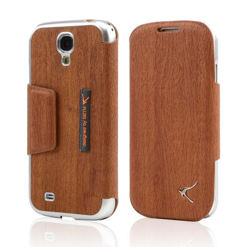 Brown Wood Grain iRoo Blend Leather Diary Flip Cover Hard Case w/ ID Slots & Magnetic Closure For Samsung Galaxy S4