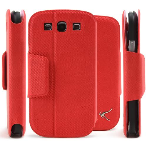 Red/ Black iRoo Faux Leather Diary Flip Cover Hard Case w/ ID Slots & Magnetic Closure For Samsung Galaxy S3