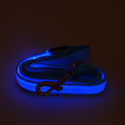 "Blue Nylon Double Sided LED 48"" Light up Leash - Provides Great Safety!"