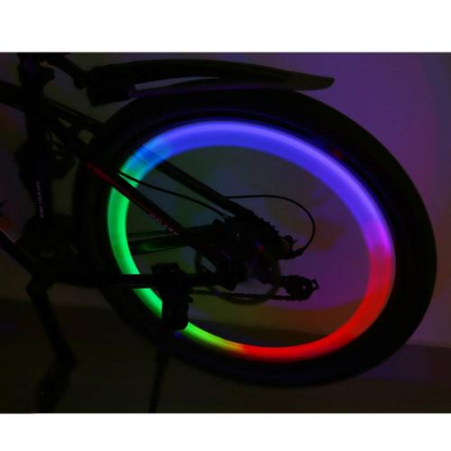 Waterproof LED Bicycle Wheel Light w/ 3 Light Modes, 7 Colors Strobe - Be Seen at Night!