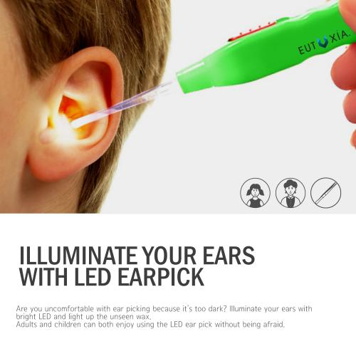 Kid Safe LED Flashlight Earpick Tool [Green]