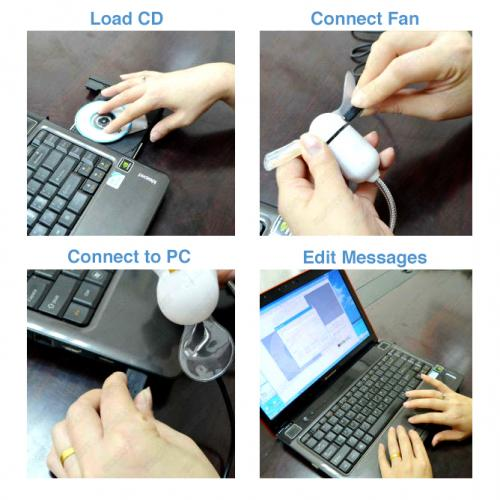 Green LED Programmable Message Fan W/ Custom Drawing - USB Powered