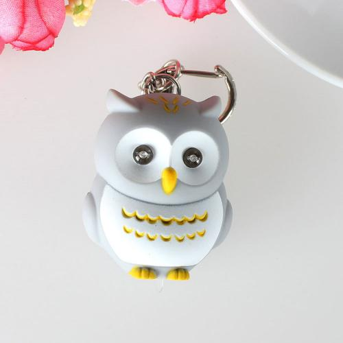 Gray Owl Mini Keychain LED Light Lamp Flashlight w/ Sound