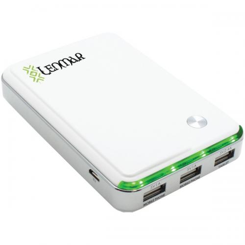 LENMAR PPW11000UW 11,000mAh Helix Power Bank with 3 USB Ports for Mobile Phones & Tablets (White)