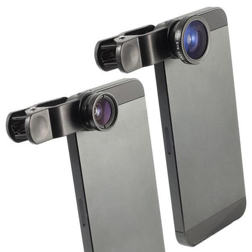 Universal 3-in-1 Camera Clip Lens Kit w/ Wide Angle Macro & Fisheye