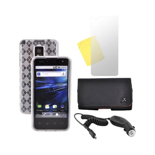 T-Mobile G2X Essential Bundle Package w/ Clear Crystal Silicone Case, Screen Protector, Leather Pouch, and Car Charger
