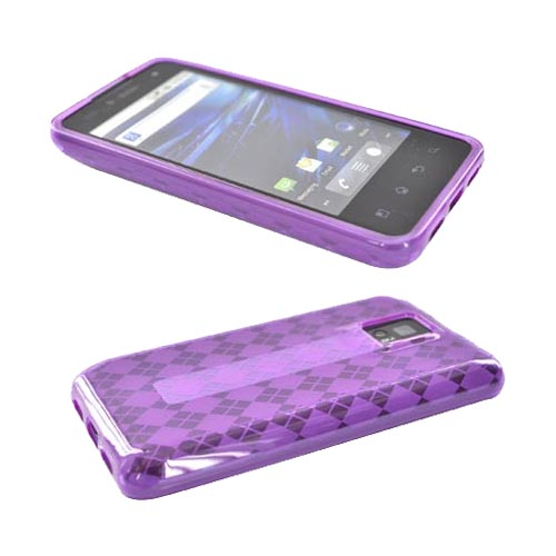 T-Mobile G2X Girly Bundle Package w/ Purple Crystal Silicone Case, Mirror Screen Protector and Pink Suction Ball Stand