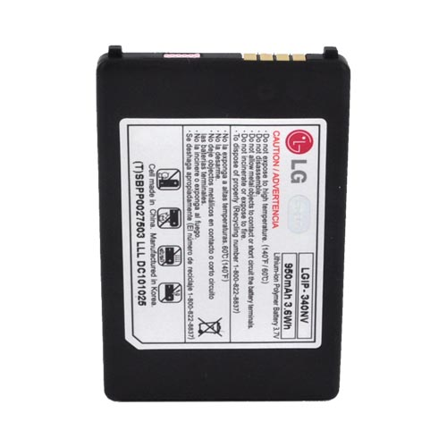 Original LG Cosmos VN250 Standard Replacement Battery (950 mAh), LGIP-340NV - Black