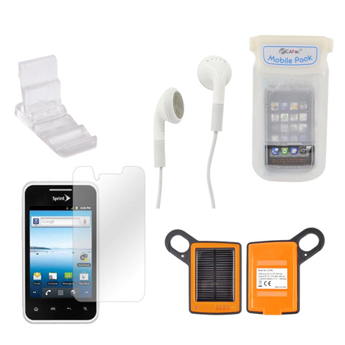 LG Optimus Elite Summer Bundle Package w/ DiCAPac Waterproof Phone Case, Anti-Glare Screen Protector, Solar Charger, 3.5mm Earbuds, and Portable Keychain Kick Stand