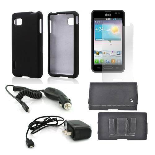 Essential Bundle Package w/ Black Rubberized Hard Case, Screen Protector, Leather Pouch, Car & Travel Charger for LG Optimus F3 - Sprint/ Virgin Mobile