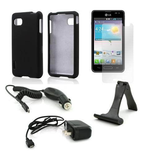 Essential Bundle Package w/ Black Rubberized Hard Case, Screen Protector, Portable Stand, Car & Travel Charger for LG Optimus F3 - Sprint/ Virgin Mobile