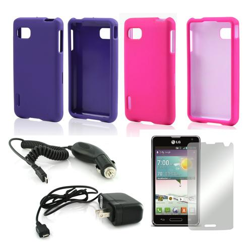 LG Optimus F3 Combo Package | Hot Pink & Purple Rubberized Hard Case, Mirror Screen Protector, Car & Travel Charger [Sprint/ Virgin Mobile]