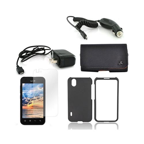 LG Marquee LS855 Essential Bundle Package w/ Black Rubberized Hard Case, Screen Protector, Leather Pouch, Car & Travel Charger