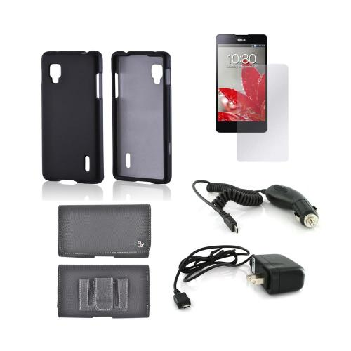 LG Optimus G (Sprint) Essential Bundle Package w/ Black Rubberized Hard Case, Screen Protector, Leather Pouch, Car & Travel Charger