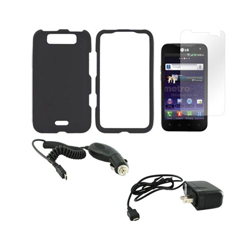 LG Viper 4G LTE/ LG Connect 4G Essential Bundle Package w/ Black Rubberized Hard Case, Screen Protector, Car & Travel Charger