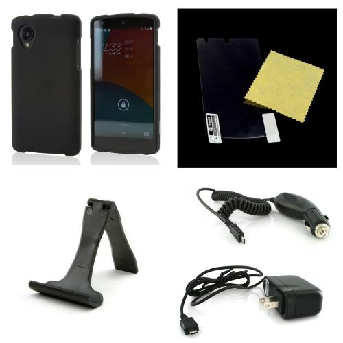 Essential Starter Bundle Package w/ Black Rubberized Hard Case, Screen Protector, Portable Stand, Car & Travel Charger for LG Google Nexus 5