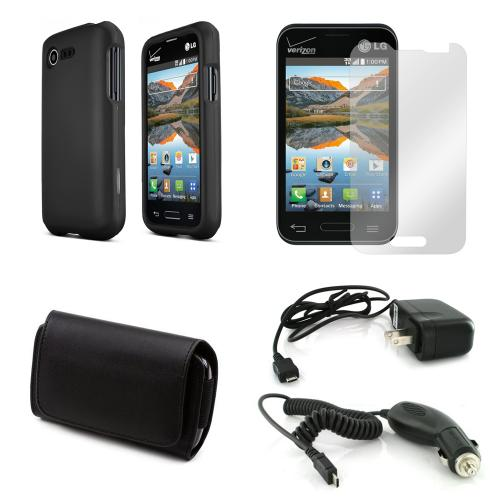 Starter Combo Package For Lg Optimus Zone 2/ Lg Optimus Fuel W/ Black Rubberized Hard Case, Screen Protector, Leather Pouch, Car & Travel Charger