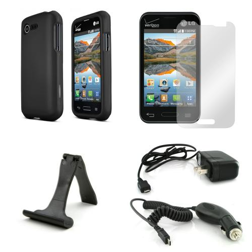 Starter Combo Package For Lg Optimus Zone 2/ Lg Optimus Fuel W/ Black Rubberized Hard Case, Screen Protector, Portable Stand, Car & Travel Charger