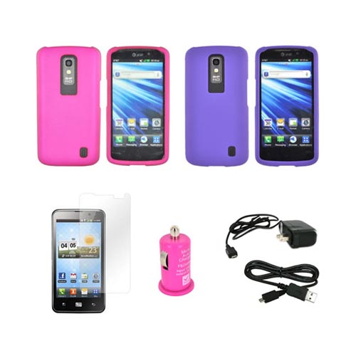 Lg Nitro Hd Girly Combo: Rose Pink & Purple Rubberized Hard Case, Travel Charger, Screen Protector, Micro Usb Data Cable, & Hot Pink Usb Car Adapter