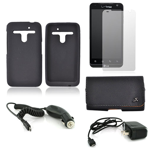 LG Revolution, LG Esteem Essential Bundle Package w/ Black Silicone Case, Screen Protector, Leather Pouch, Travel Charger, and Car Charger