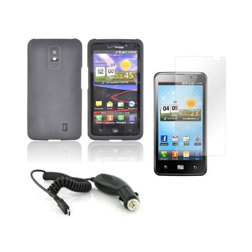 LG Spectrum Basic Bundle Package w/ Black Rubberized Hard Case, Screen Protector, and Car Charger