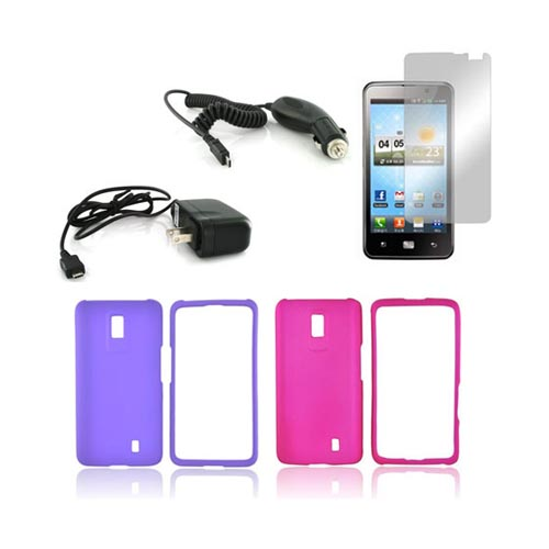 LG Spectrum Essential Girly Bundle Package w/ Hot Pink & Purple Rubberized Hard Case, Mirror Screen Protector, Car & Travel Charger