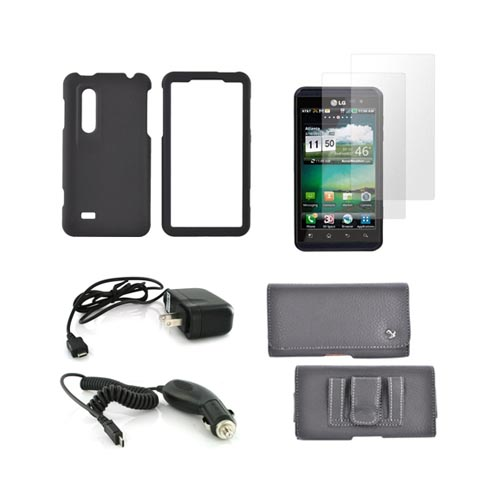 LG Thrill 4G Essential Bundle Package w/ Black Rubberized Hard Case, 2 Pack Screen Protector, Leather Pouch, Car & Travel Charger